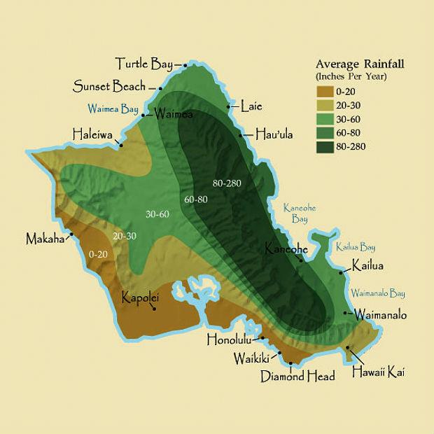 Oahu Rainfall Map  Hawaiian Time Machine