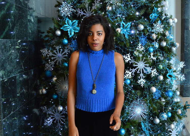 Fashion Blogger Anais Alexandre of Down to Stars in a vintage blue sleeveless turtleneck with a velvet maxi skirt