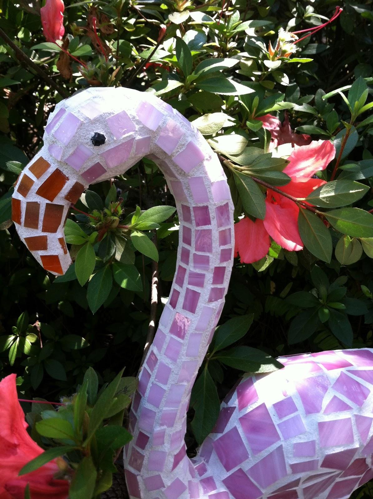 Flamingo Mosaic Garden Art Made From Plastic Pink Dollar