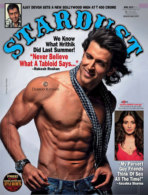 Hrithik Roshan on the cover of  Stardust #April 2013