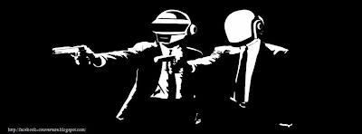 Couverture facebook HD daft punk noir et blanc