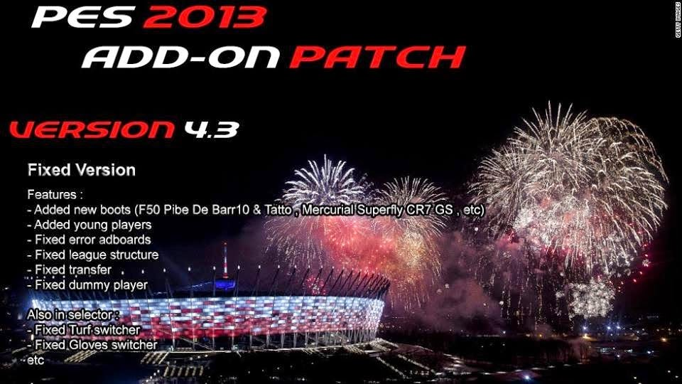 Add-on Patch v 4.3 untuk PES 2013 PESEdit 6.0