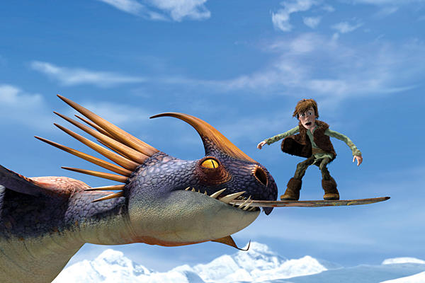 How to train your dragon Hiccup riding on a surfboard held in a dragon's beak animatedfilmreviews.blogspot.com