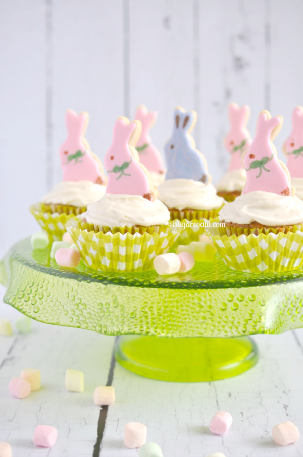 Easter Bunny Carrot Cupcakes with Vanilla Bean Cream Cheese Frosting