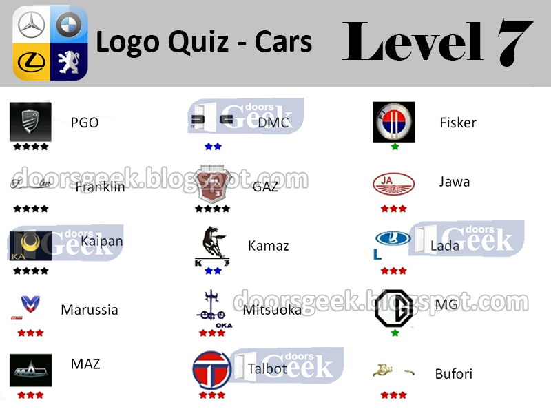 Logo Quiz Car Answers Level 2