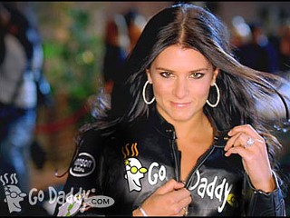 Danica Patrick Go Daddy advertisement ad unzipping leather jacket hot