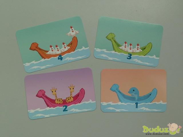 5 艘小船、3 種動物,共 10 隻(動物)