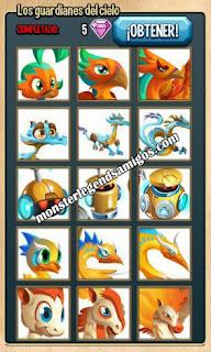 imagen de la colección guardianes del cielo  de monster legends