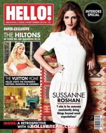 Sussanne in a white dress on the cover page -  Sussanne Roshan&#8217;s Scans Hello! India &#8211; September 2012