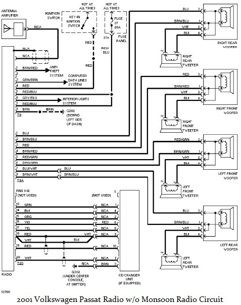 2001 Volkswagen Passat    Radio       wiring       diagram     Circuit    diagram