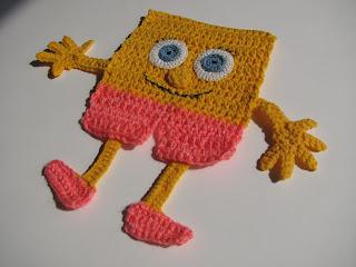 губка боб, квадратные штаны, спанч боб, подставка под кружки, губка боб крючком, своими руками, детское вязание