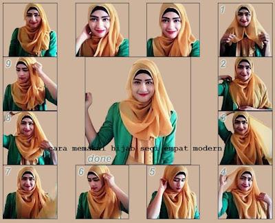 Tutorial Cara Memakai Hijab Segi Empat Modern Terbaru