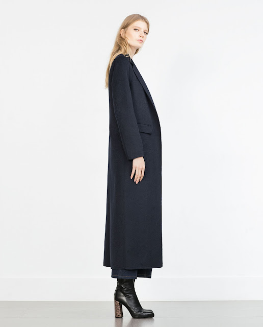 long navy wool coat, zara maxi coat,
