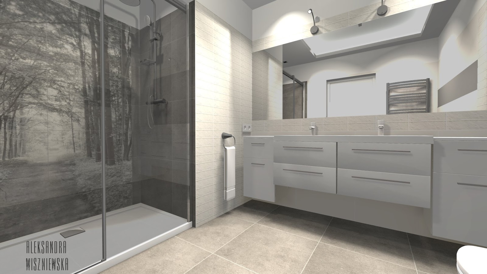 Projekty łazienek Wizualizacje Tubądzin All In White Z Obszernym