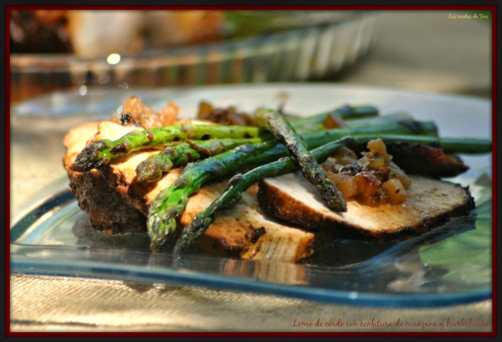 Lomo de cerdo al horno con confitura de manzana y hierbabuena  04