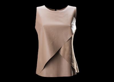 Raw Tec Leather Layered Top Woman