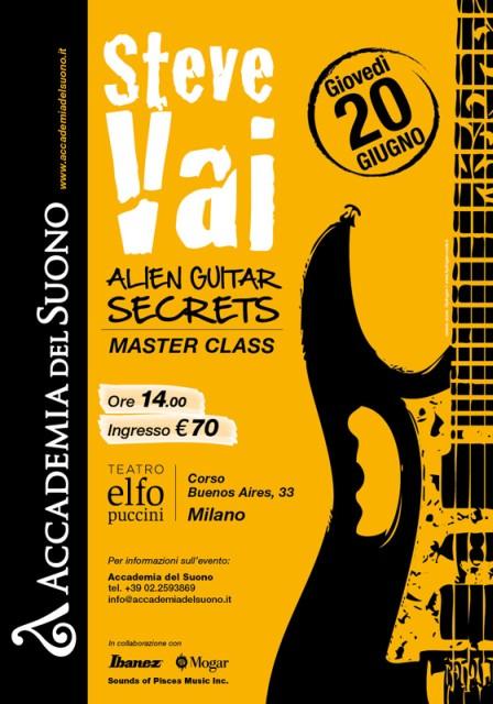 Steve Vai concerto masterclass al teatro Elfo Puccini di Milano giovedì 20 giugno 2013