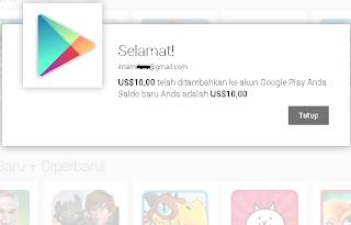 Saldo Google Wallet berhasil ditambahkan