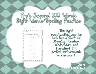 http://www.teacherspayteachers.com/Product/Spelling-Practice-Book-Frys-Second-100-Sight-Words-101-200-757475