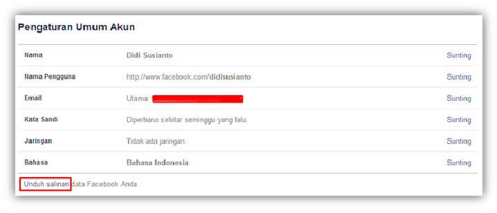 Membackup Data Di Facebook
