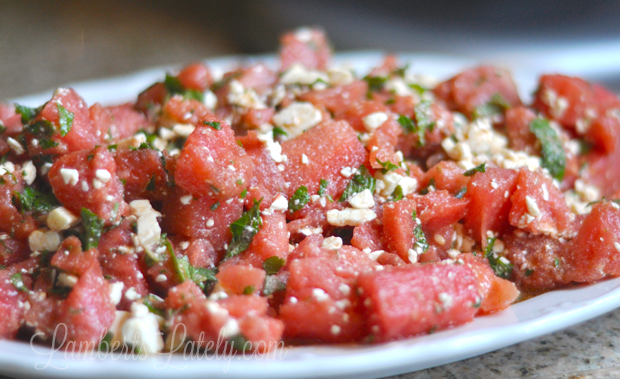 This Balsamic Watermelon Salad with feta and mint is so incredibly perfect for a warm summer night!
