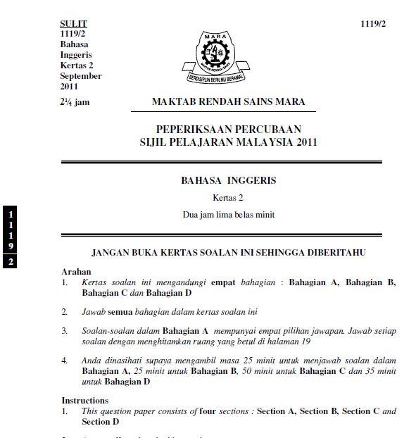 Kertas Peperiksaan Percubaan SPM MRSM
