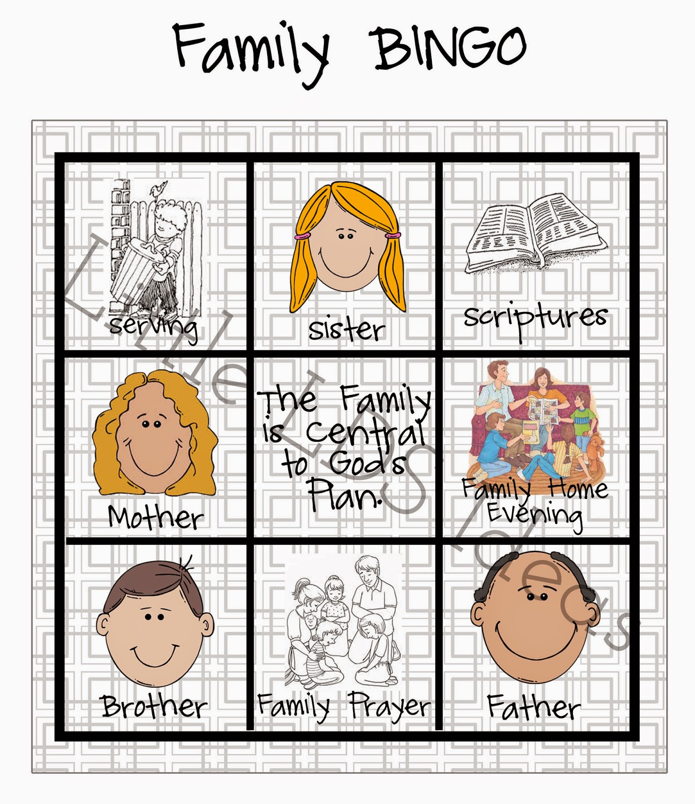 {Sharing Time} Family BINGO - Little LDS Ideas