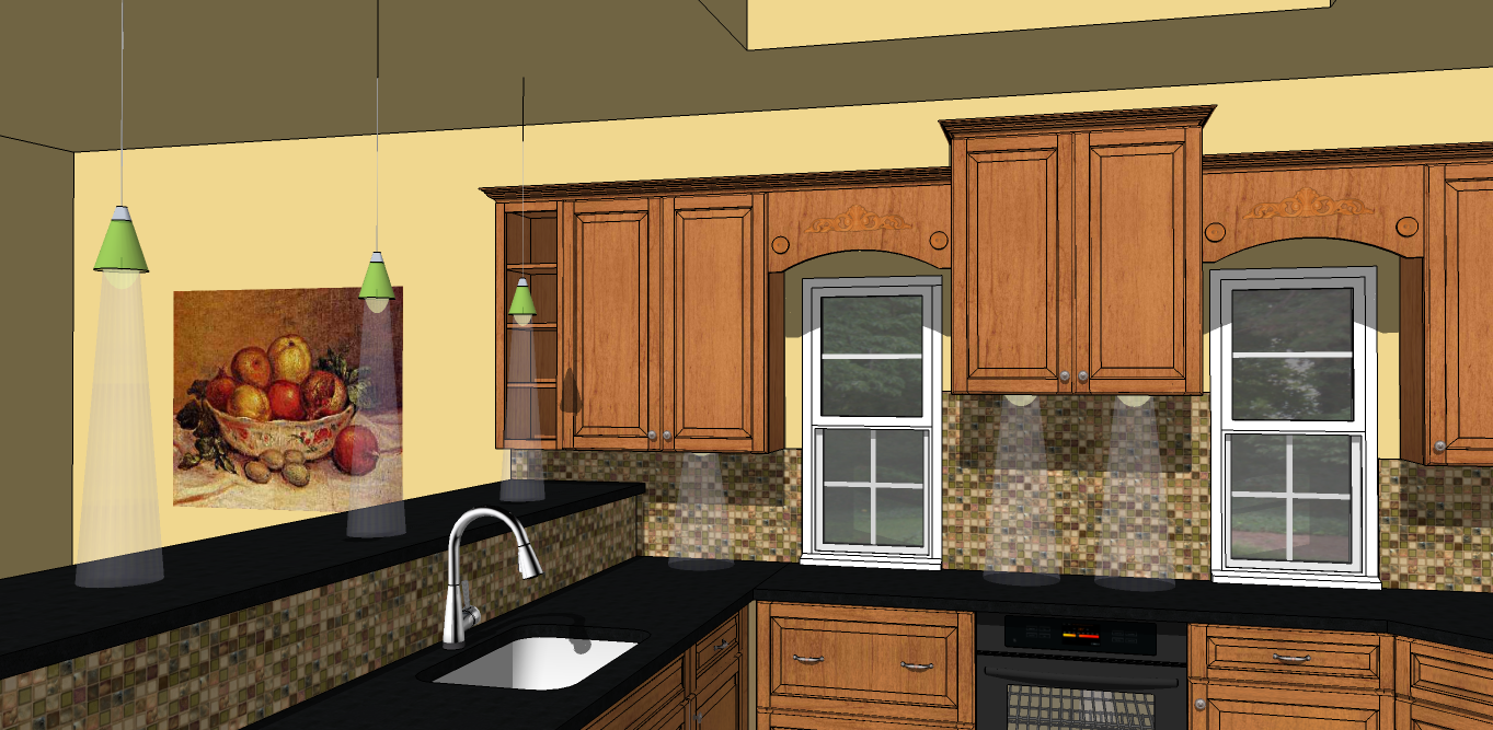 Sketchup for interior design how to simulate artificial lights without using a rendering plug in Kitchen design software google sketchup