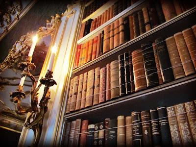 Wrest Park, Library, bookshelf, vintage, candlestick