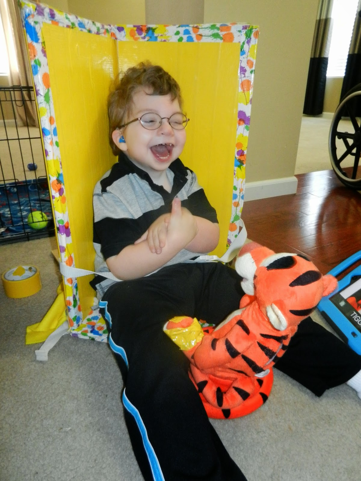 child with low vision activating Tigger independently