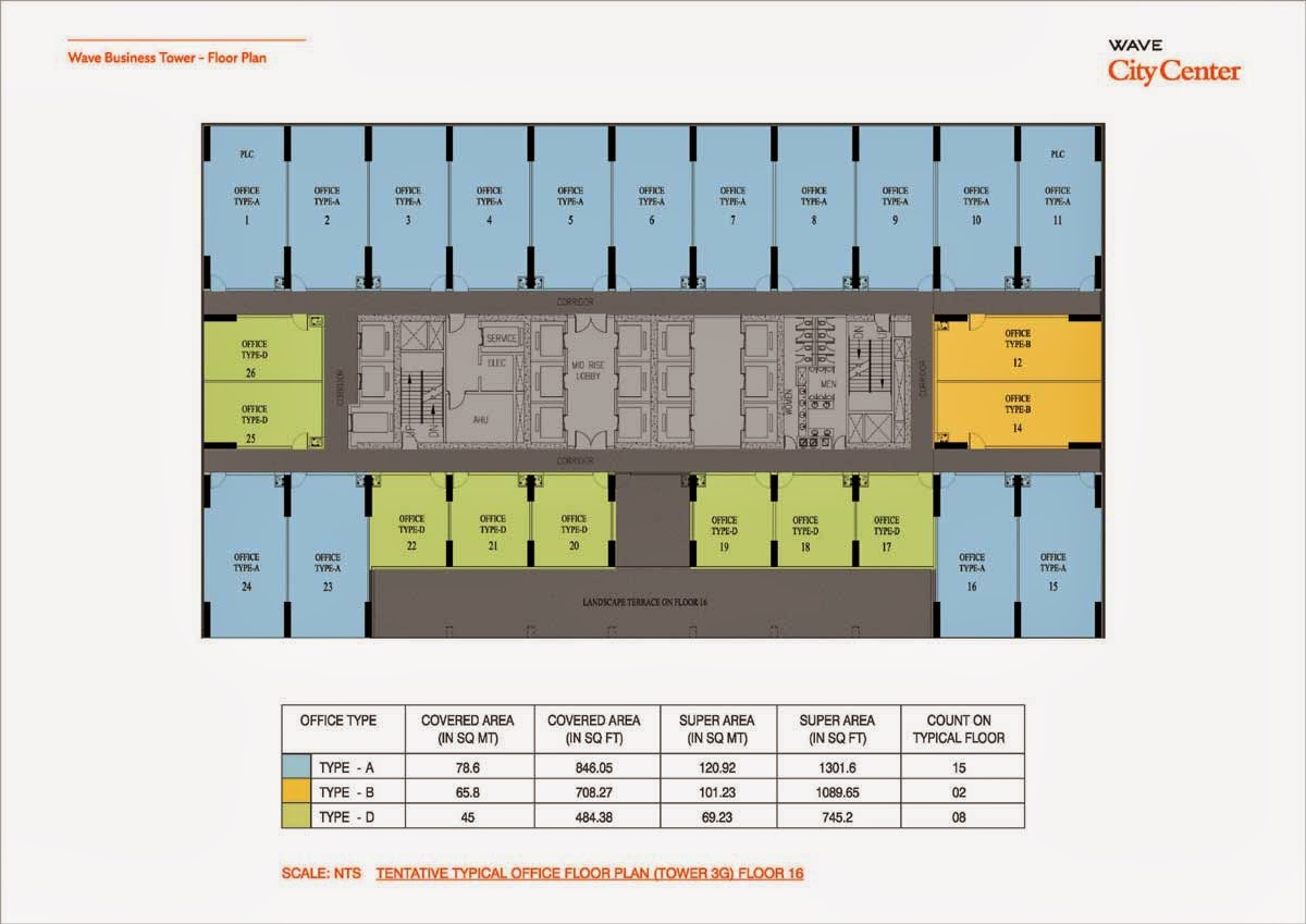 Wave Business Tower Floor Plan Tower 3G 16 Floor Plan