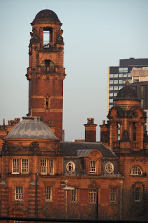 London Road Fire Station in Manchester seen from platform 14 at Piccadilly train station