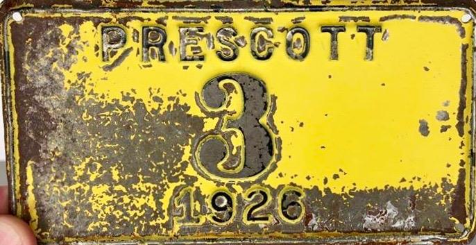 1926 Prescott License Plate