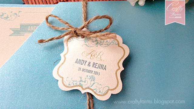 Glamour Turquoise and Cream Wedding Card