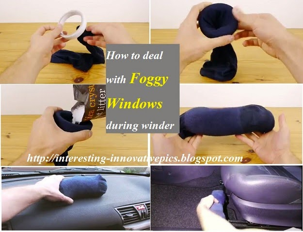 trick to deal with foggy car windows during winter, life hacking ideas for steamy car windows