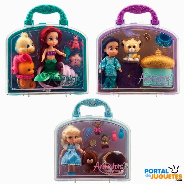 Minimuñecas Ariel Yasmin Cenicienta Coleccion Disney Animators cajas