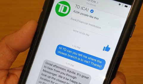 TD Bank sur Facebook Messenger