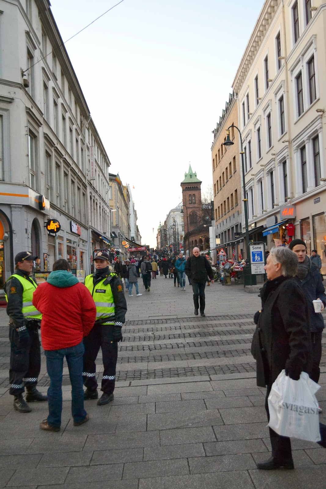 A busy street of Oslo