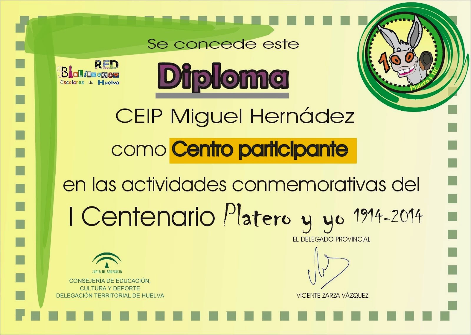 Diploma concedido por la Consejería de Educación de la Junta de Andalucía