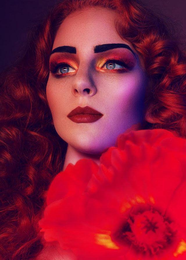 red hair, bold brows, makeup