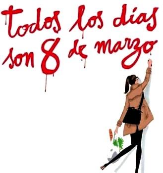 Dibujo por el Día Internacional de la Mujer o Día de la Mujer (Mujer escribiendo en la pared)