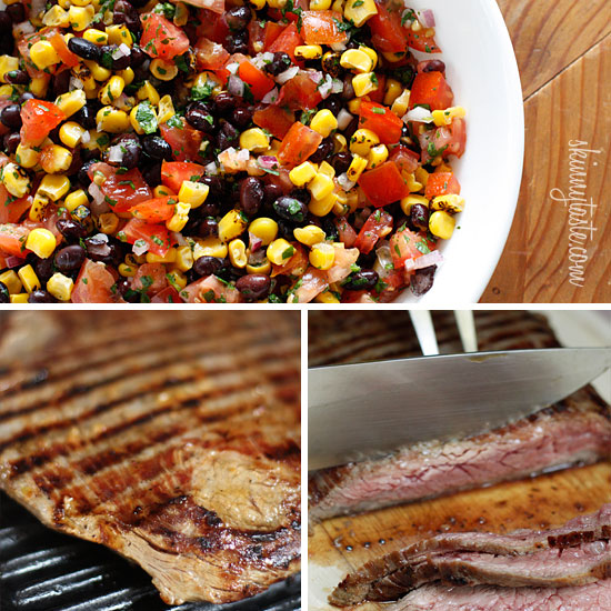 Grilled Flank Steak with Black Beans Corn and Tomatoes | Skinnytaste