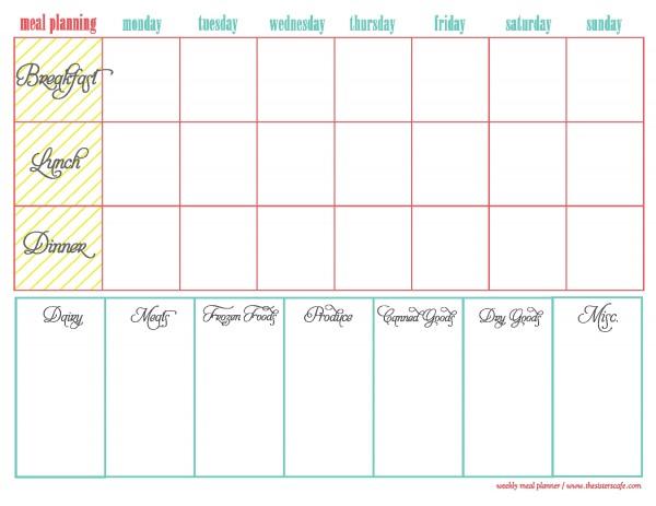 Lucrative image regarding printable weekly menu
