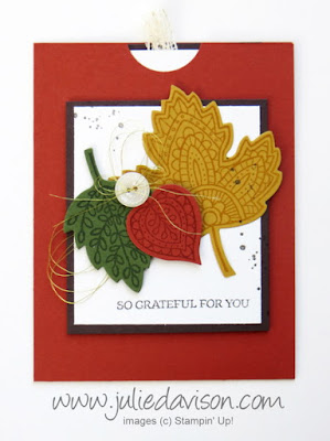 Stampin' Up! Lighthearted Leaves Double Slider Card #stampinup Holiday Catalog 2015 www.juliedavison.com