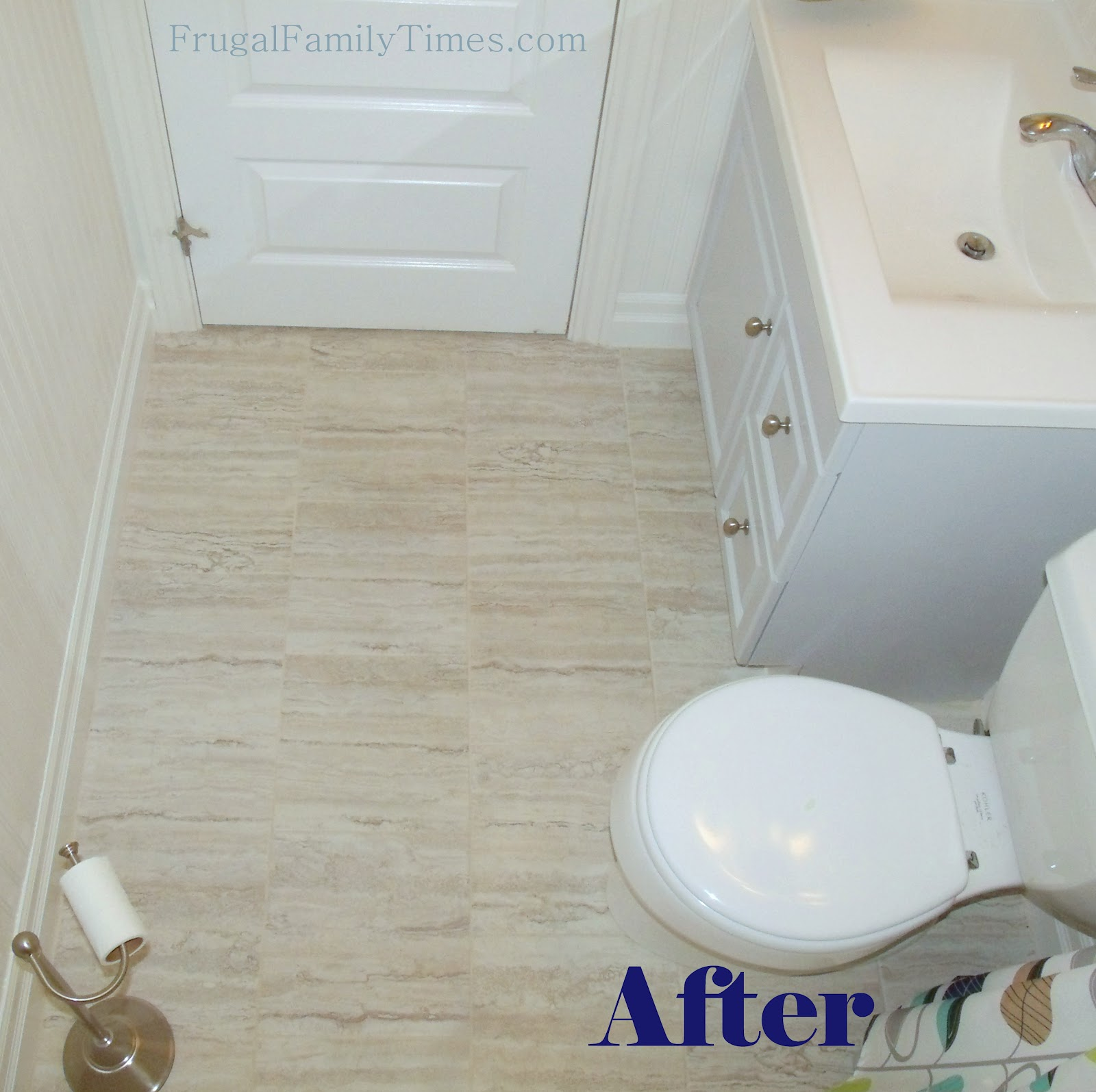 Bathroom floor vinyl tiles - How To Install Peel And Stick Vinyl Tile That You Can Grout