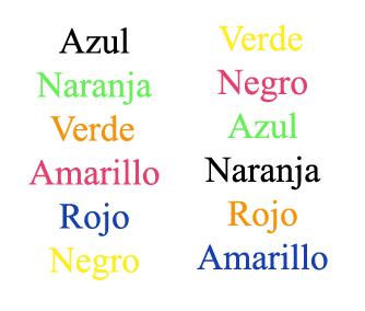 Lista de palabras en color de Recicla Inventa