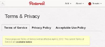 Pinterest, mentions, legales, changement, 6 avril