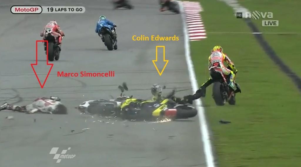 Penunggang Honda Marco Simoncelli mati selepas kemalangan Malaysian MotoGP