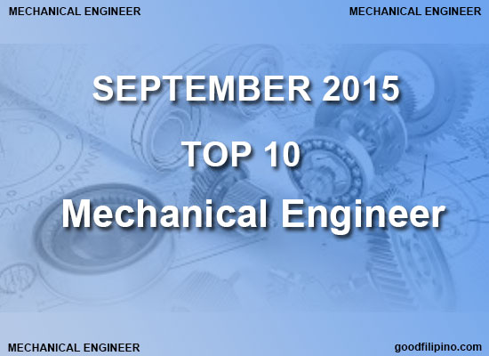 Top 10 Mechanical Engineer Board Exam Results (September 2015)