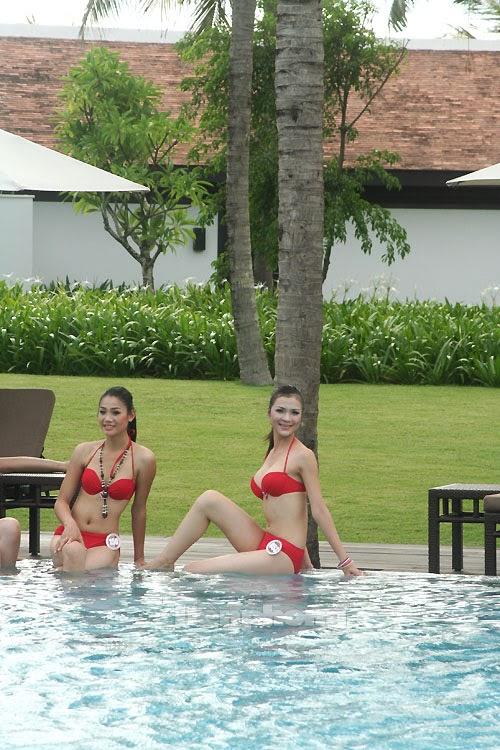 Hoa Hậu Việt Nam mặc bikini tỏa sắc bên bể bơi 14